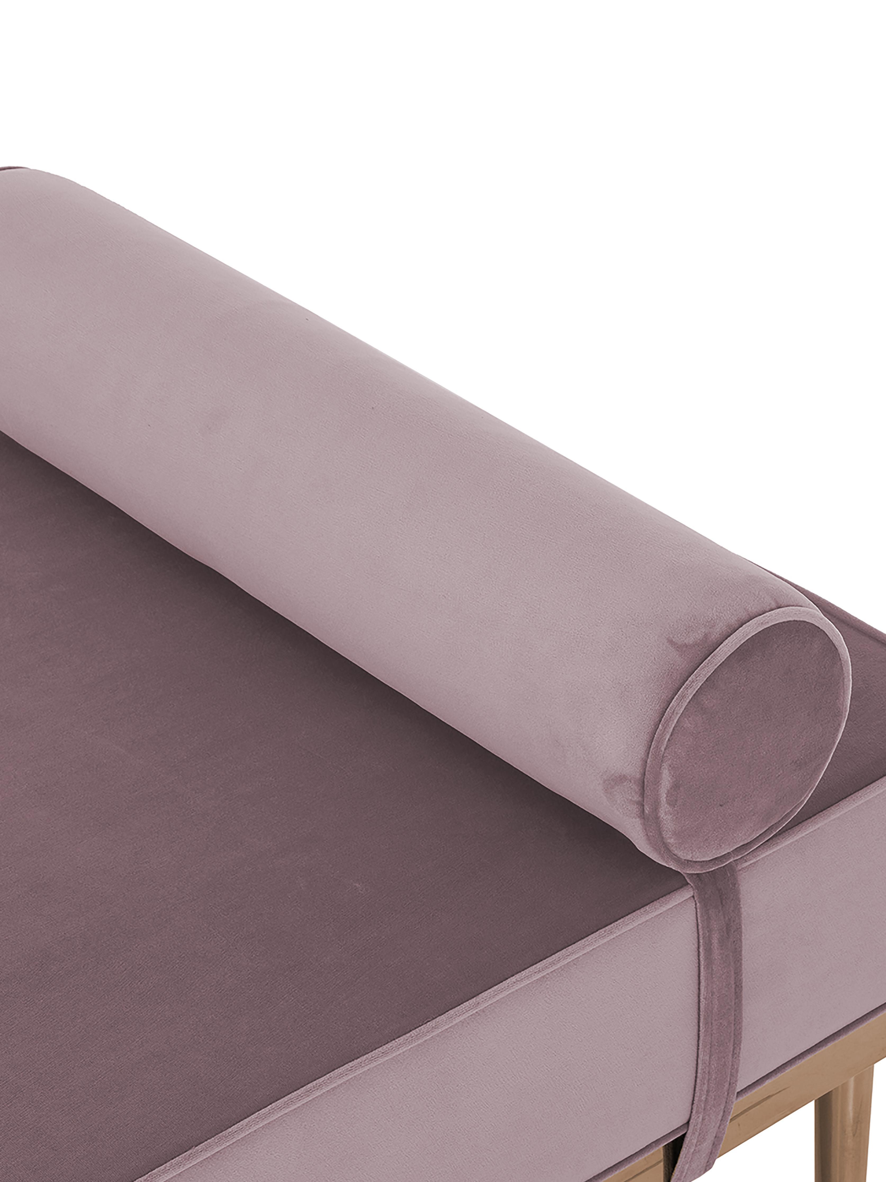 Samt-Daybed Aurora, Bezug: Samt (Hochwertiger Polyes, Beine: Metall, beschichtet, Samt Mauve, 180 x 42 cm
