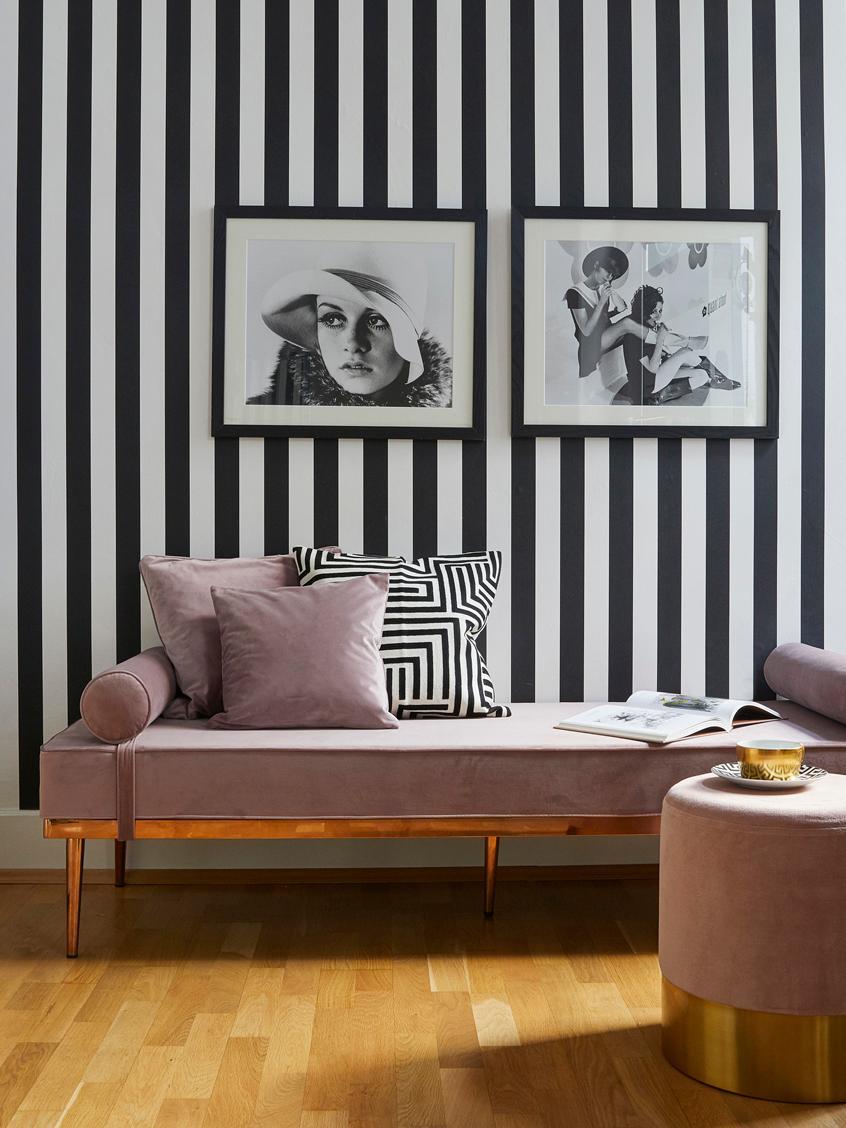 Chaise longue letto singolo in velluto rosa Aurora, Rivestimento: velluto (poliestere di al, Gambe: metallo rivestito, Velluto malva, Larg. 180 x Alt. 42 cm