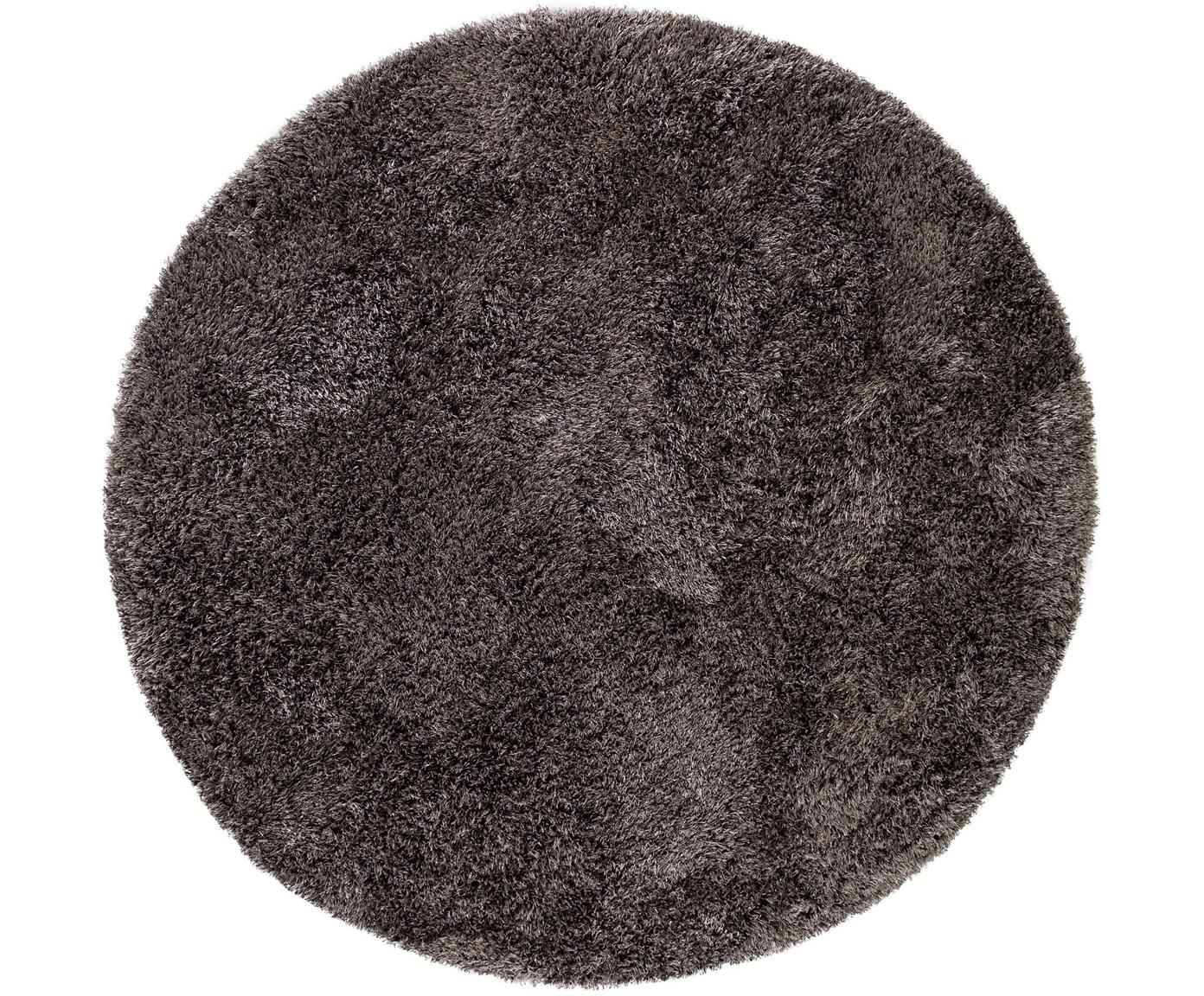 Glänzender Hochflor-Teppich Lea in Anthrazit, rund, 50% Polyester, 50% Polypropylen, Anthrazit, Ø 120 cm (Größe S)