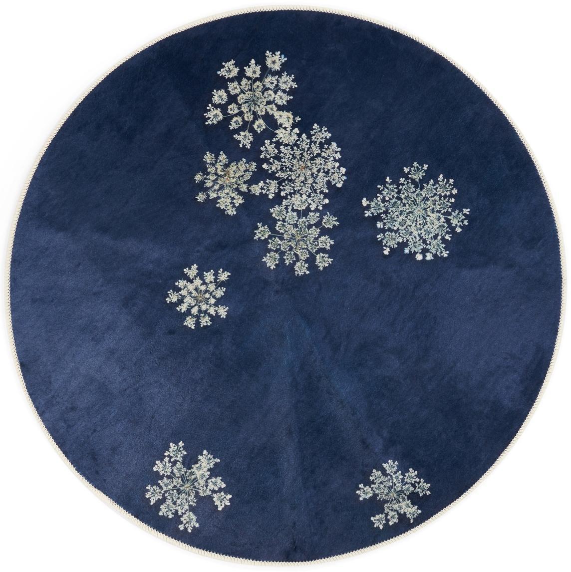 Rond vloerkleed Lauren met bloemenprint, 60% polyester, 30% thermoplastisch polyurethaan, 10% katoen, Blauw, beige, Ø 90 cm (maat XS)