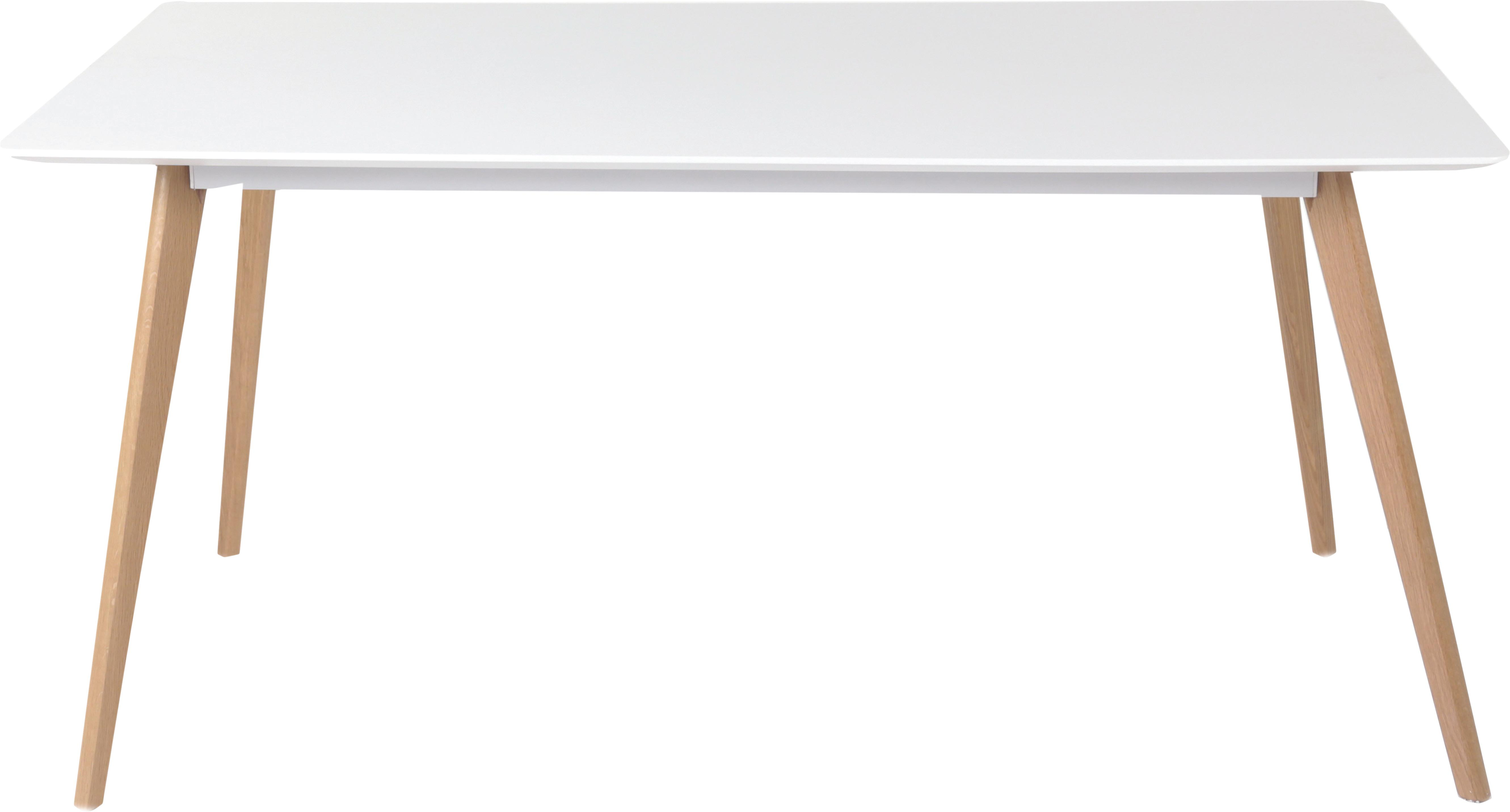 Mesa de comedor Flamy, estilo escandinavo, Tablero: fibras de densidad media , Patas: madera de roble aceitada, Blanco, roble, An 160 x F 90 cm