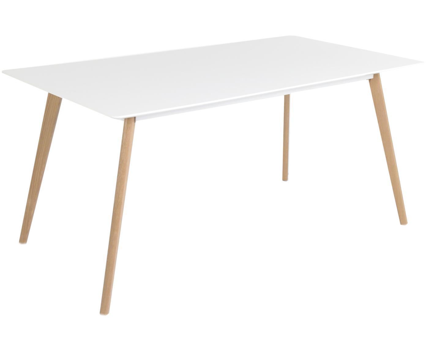 Eettafel Flamy, Tafelblad: mat gelakt MDF, Poten: geolied eikenhout, Wit, eikenhoutkleurig, B 160 x D 90 cm