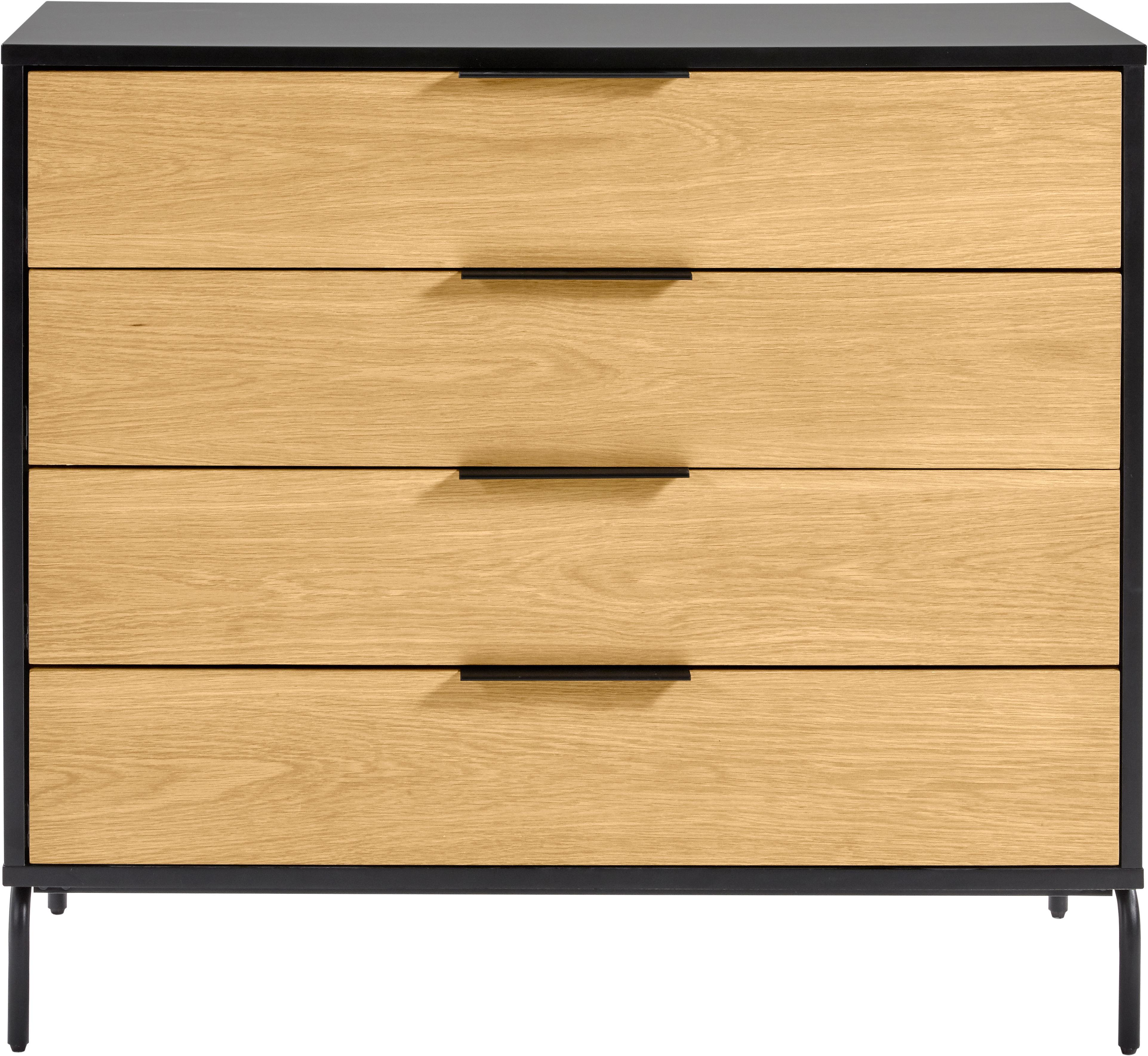 Kommode Stellar mit 4 Schubladen aus Eichenholzfurnier, Korpus: Mitteldichte Holzfaserpla, Schwarz, Eichenholz, 100 x 90 cm