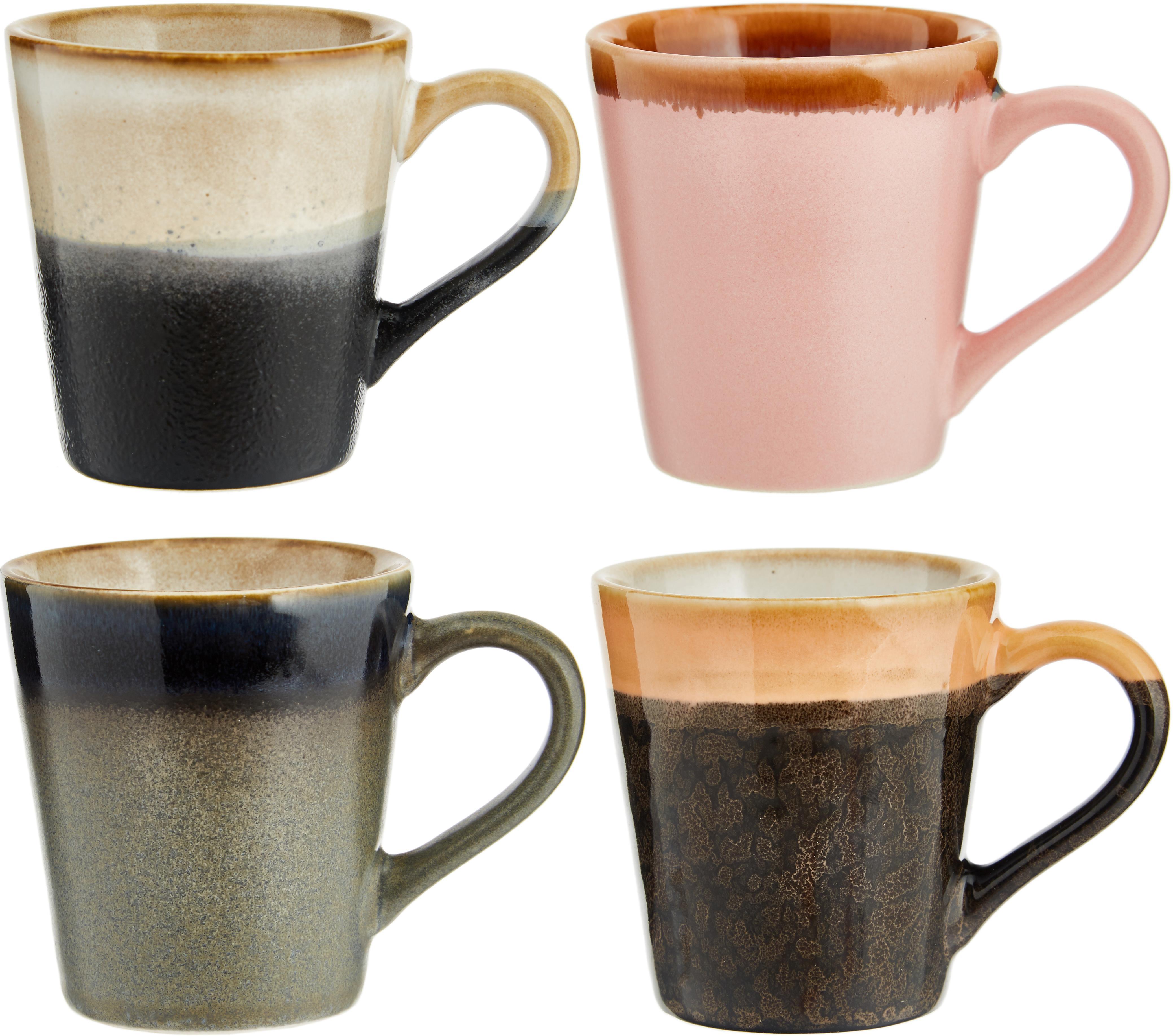Handgemaakte espressokopjesset 70's, 4-delig, Keramiek, Roze, grijs, blauw, Ø 6 x H 6 cm