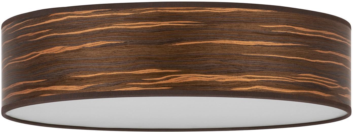 Deckenleuchte Ocho aus Holz, Lampenschirm: Holz, Holz, Weiss, Ø 40 x H 11 cm