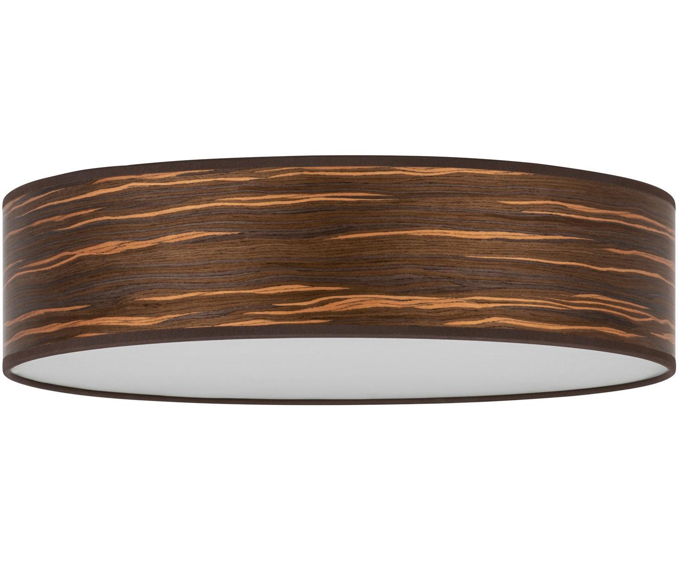 Lampa sufitowa z drewna Ocho, Drewno naturalne, biały, Ø 40 x W 11 cm