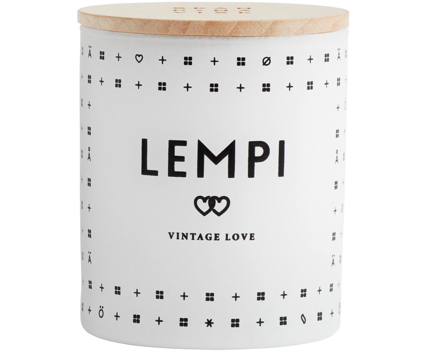 Candela profumata Lempi (rose), Contenitore: vetro, Coperchio: legno di faggio, Bianco, Ø 8 x A 9 cm