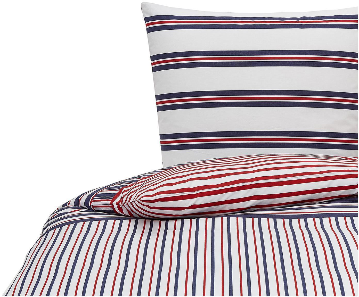 Gestreifte Bettwäsche Perry, 100% Baumwolle Bettwäsche aus Baumwolle fühlt sich auf der Haut angenehm weich an, nimmt Feuchtigkeit gut auf und eignet sich für Allergiker., Blau, Rot, Weiß, 135 x 200 cm + 1 Kissen 80 x 80 cm