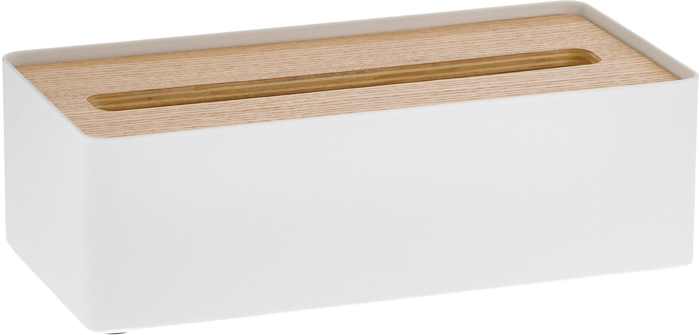 Porta fazzoletti Rin, Coperchio: legno, Scatola: acciaio verniciato, Bianco, marrone, Larg. 26 x Alt. 8 cm