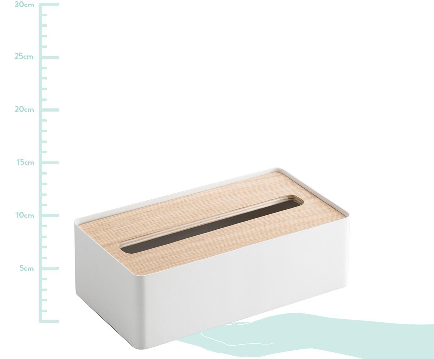 Tissuebox Rin, Deksel: hout, Doos: gelakt staal, Wit, bruin, 26 x 8 cm