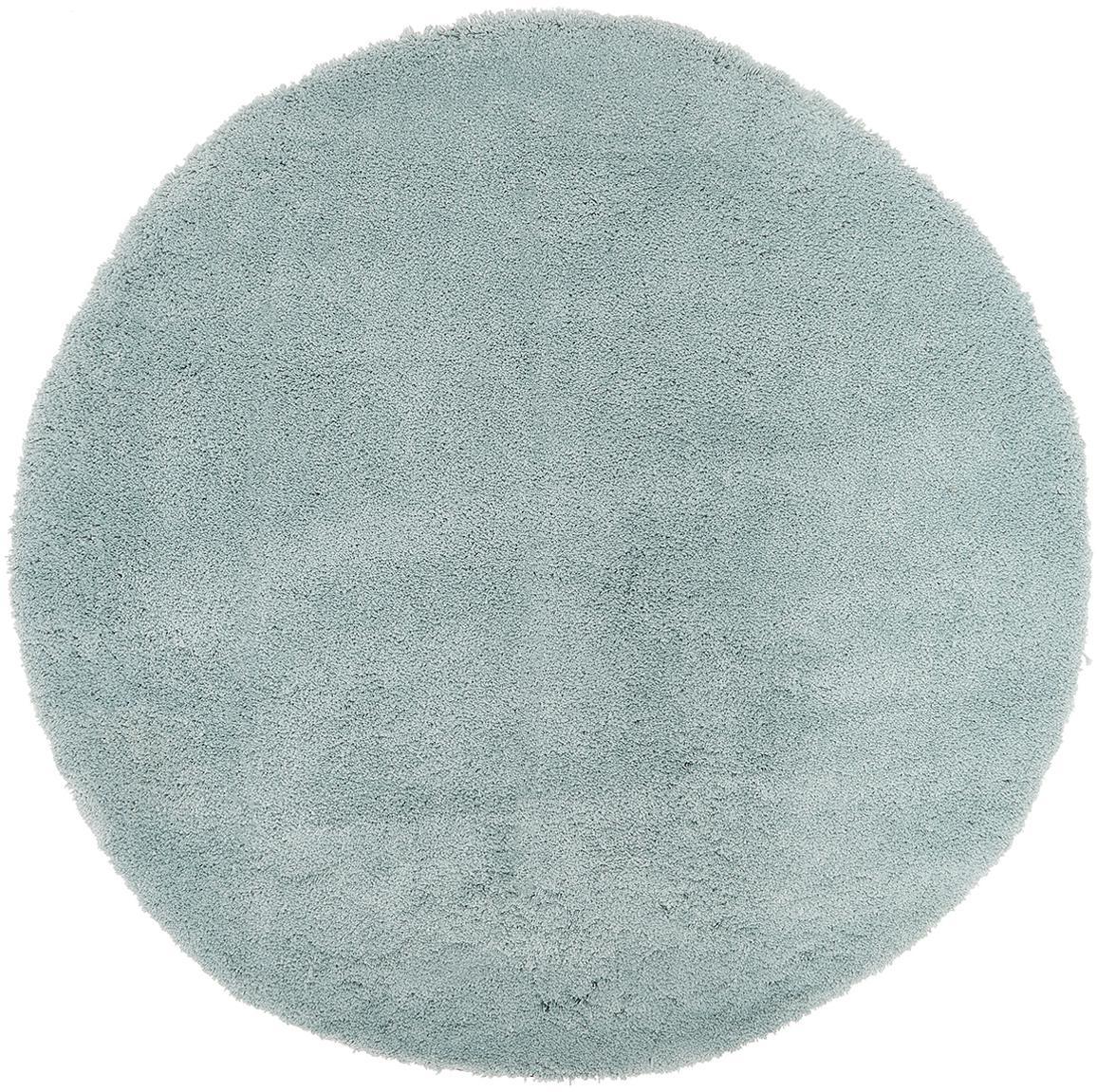 Alfombra redonda de pelo largo Leighton, Parte superior: 100%poliéster (microfibr, Reverso: 100%poliéster, Verde menta, Ø 120 cm (Tamaño S)