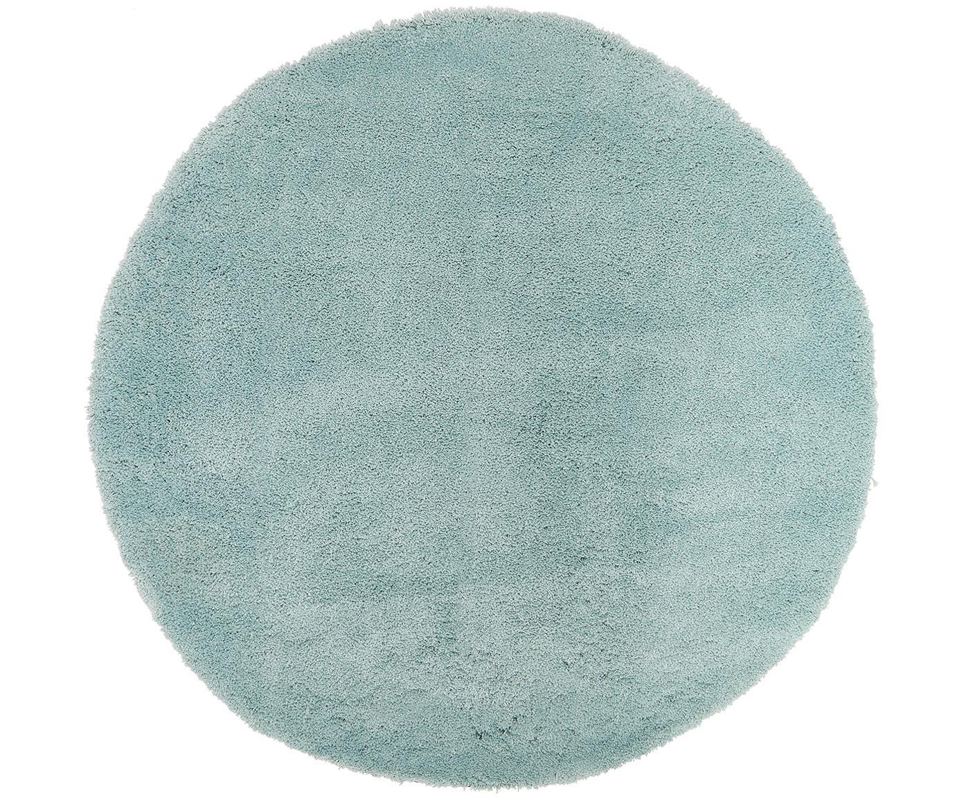 Rond hoogpolig vloerkleed Leighton in mintgroen, Bovenzijde: 100% polyester (microveze, Onderzijde: 100% polyester, Mintgroen, Ø 120 cm