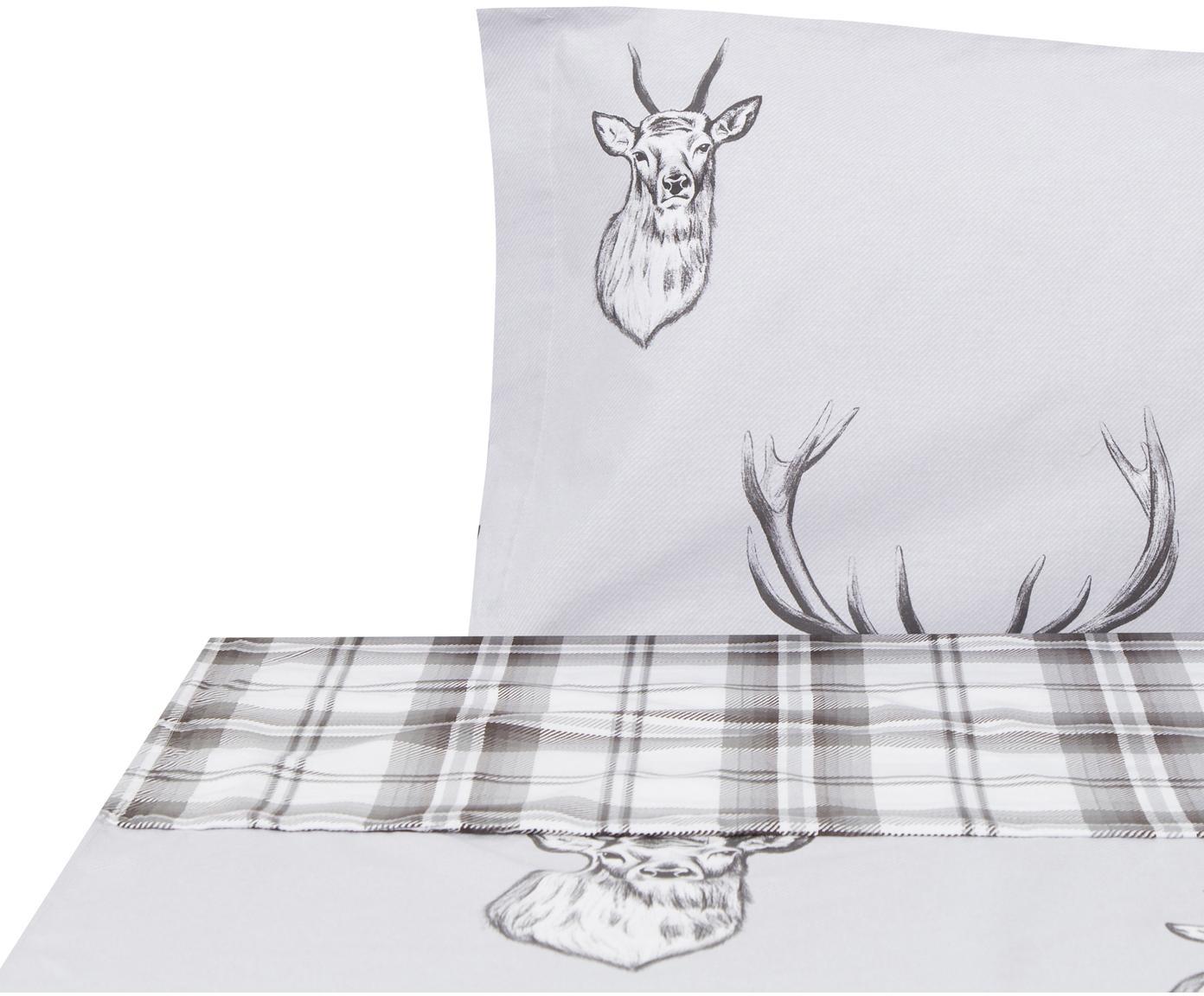 Sábana encimera Stags, Algodón, Gris, blanco, Cama 90 cm (155 x 280 cm)
