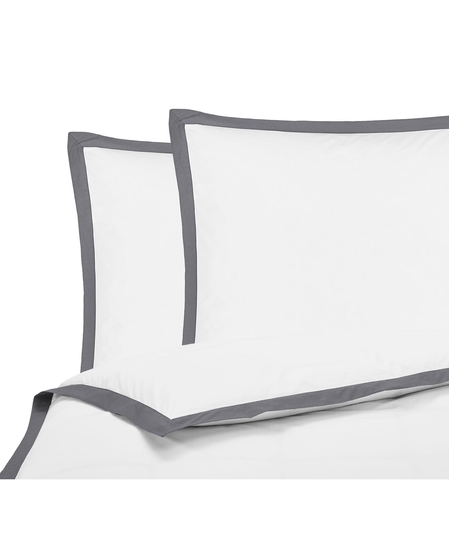Baumwollperkal-Bettwäsche Joanna in Weiß mit grauem Stehsaum, Webart: Perkal Fadendichte 200 TC, Weiß, Grau, 200 x 200 cm + 2 Kissen 80 x 80 cm