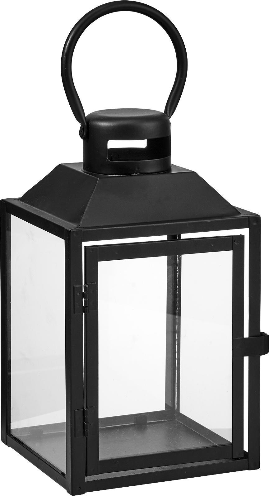 Lantaarn Lighthouse van metaal, Metaal, glas, Zwart, transparant, 13 x 24 cm