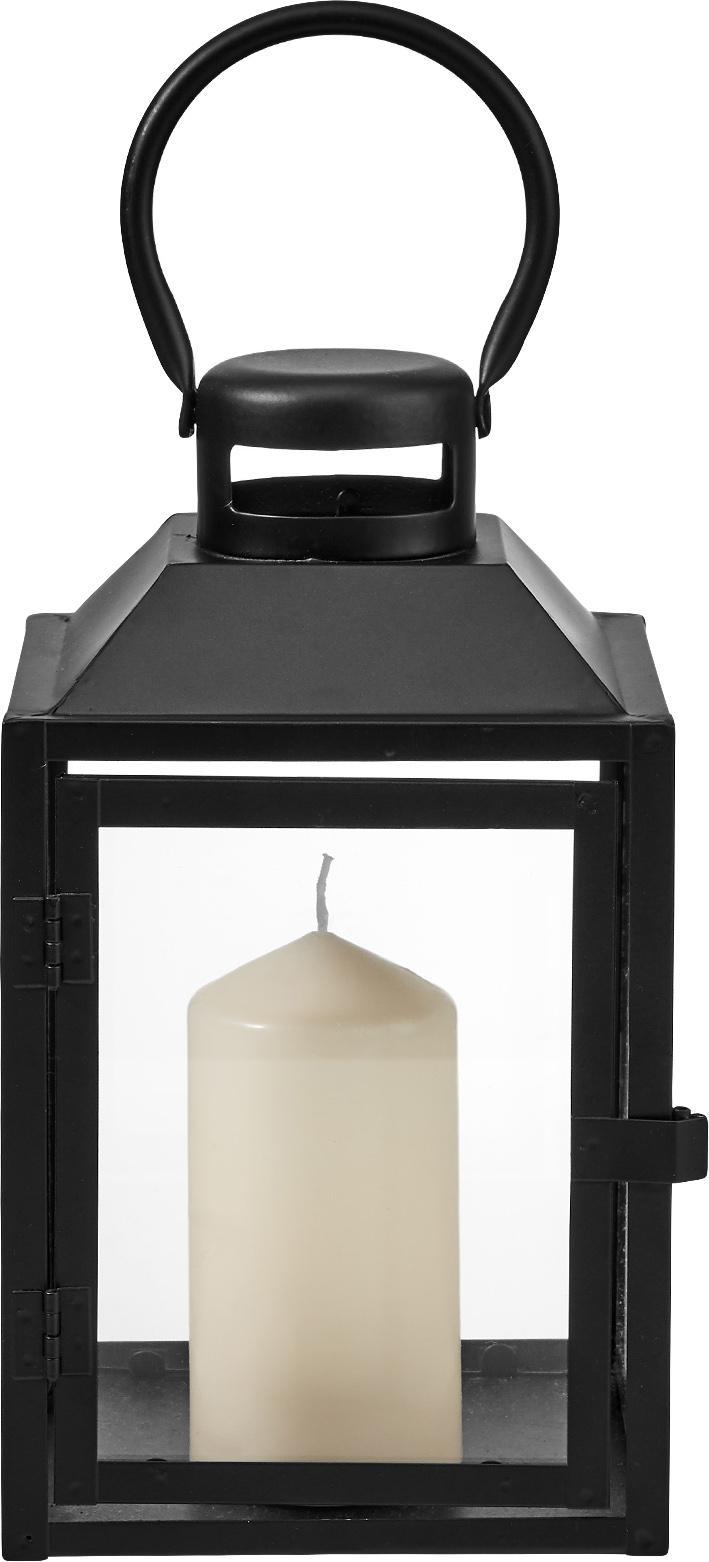 Farolillo de metal Lighthouse, Metal, vidrio, Negro, transparente, An 13 x Al 24 cm