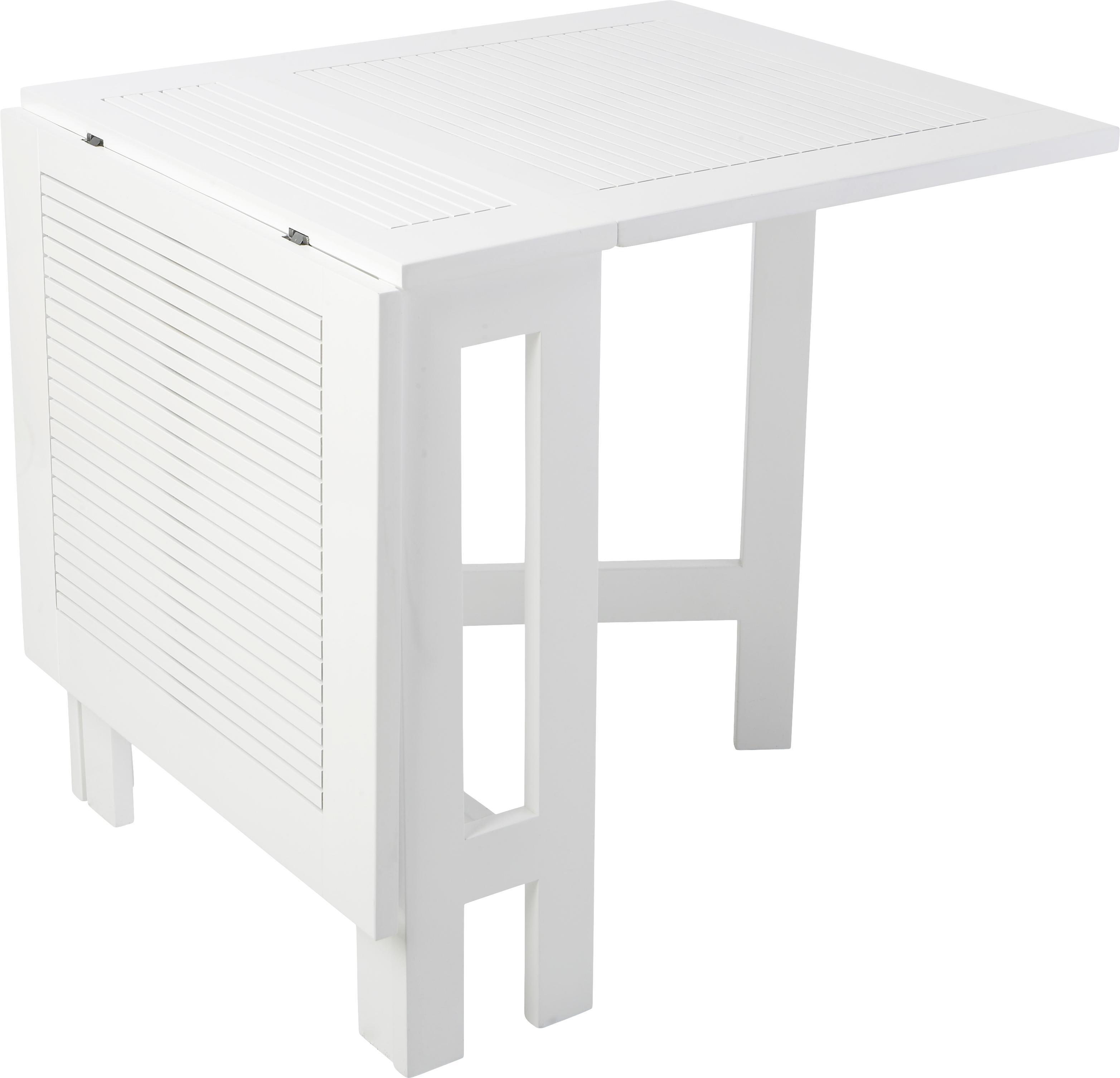 Tavolo pieghevole da balcone Butterfly, Bianco, Larg. 130 x Alt. 72 cm