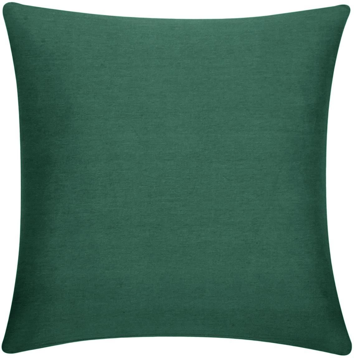 Katoenen kussenhoes Mads in groen, 100% katoen, Groen, 40 x 40 cm