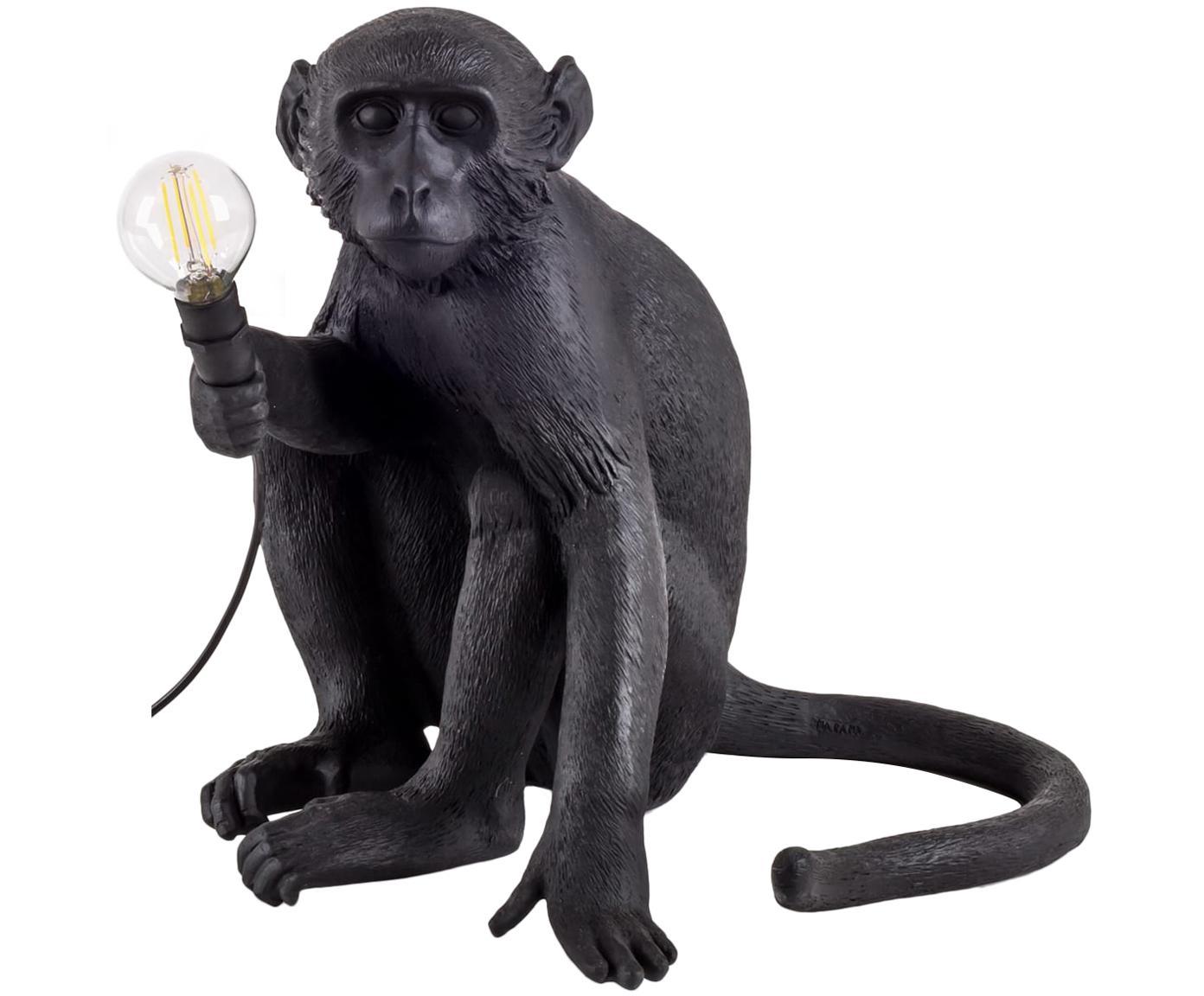 Außen-Tischleuchte Monkey, Kunstharz, Schwarz, 34 x 32 cm