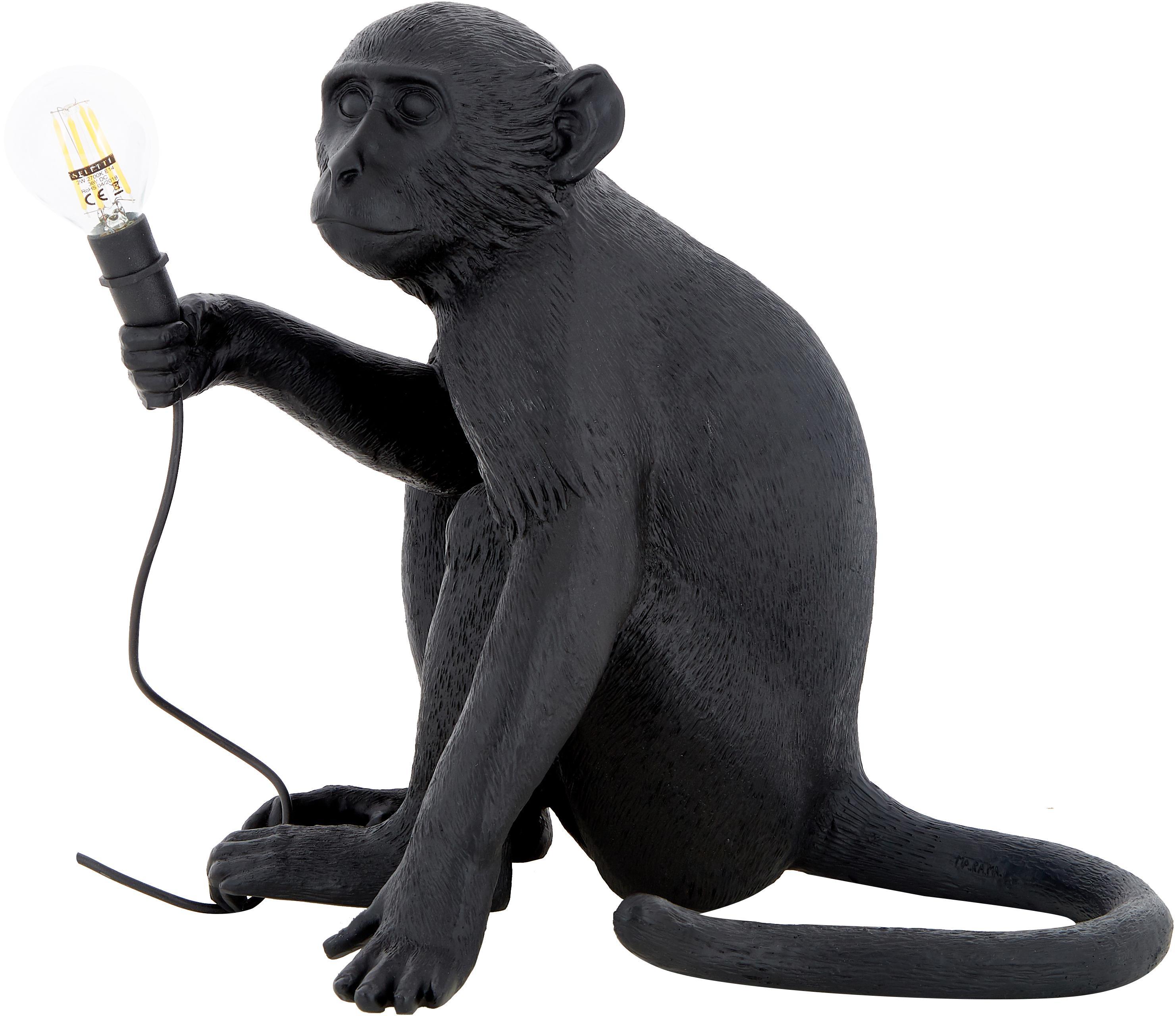 Zewnętrzna lampa stołowa LED Monkey, Żywica syntetyczna, Czarny, S 34 x W 32 cm