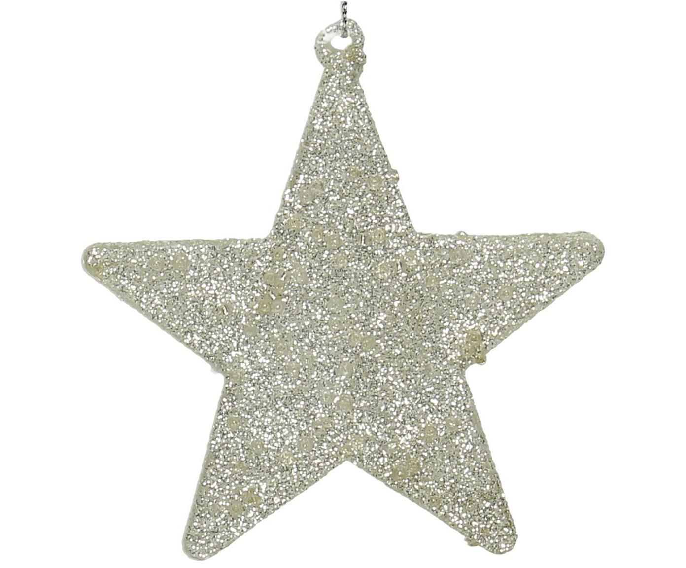 Baumanhänger-Set Silver Star, 2 Stück, Silberfarben, glänzend, 10 x 10 cm