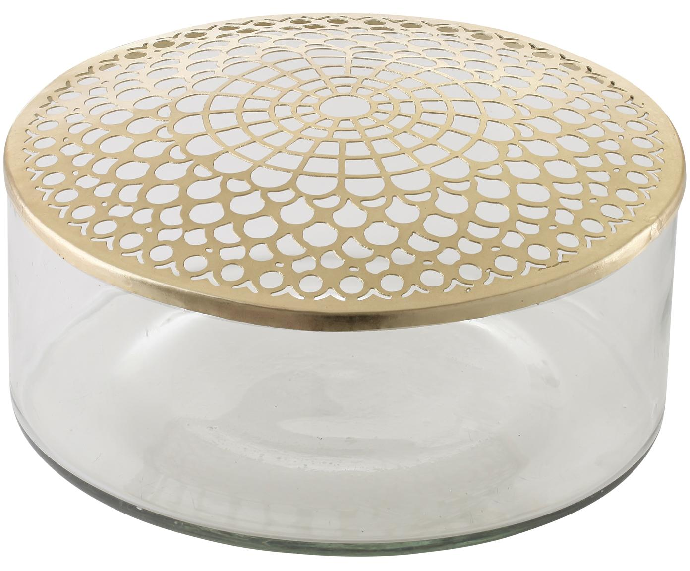 Vaso Kassandra, Vaso: vetro, Coperchio: acciaio inossidabile otto, Vaso: trasparente Coperchio: ottone, Ø 21 x Alt. 10 cm