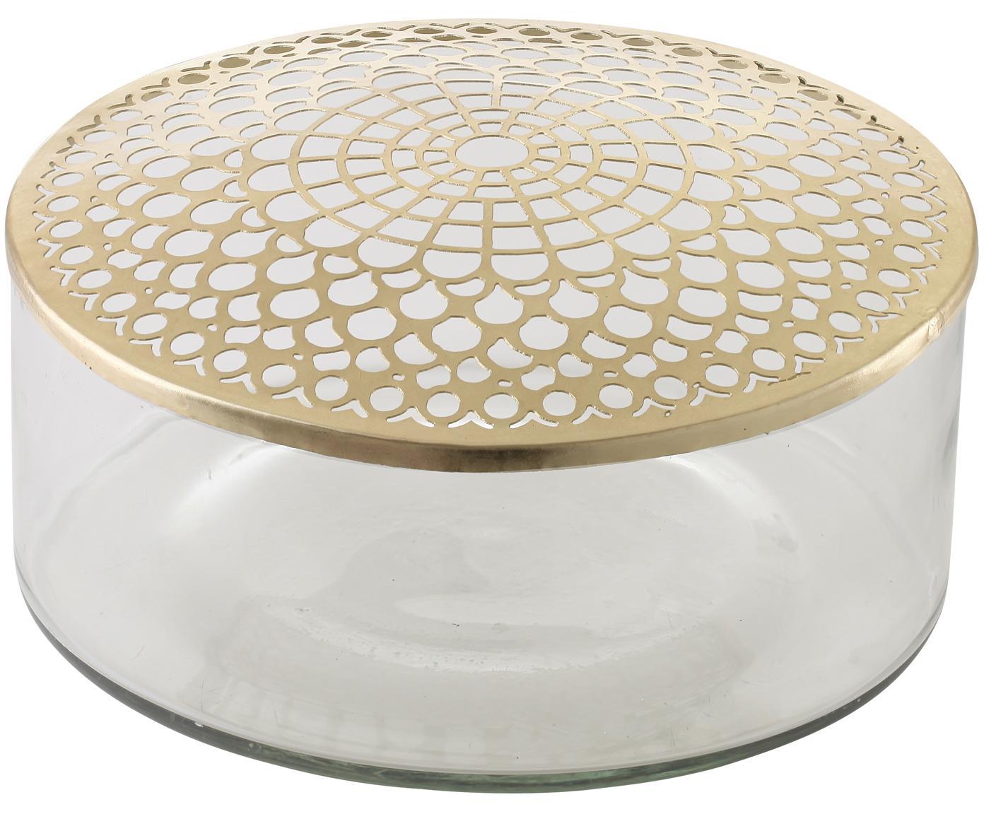 Wazon ze szkła z metalową pokrywką Kassandra, Wazon: transparentny Pokrywka: mosiądz, Ø 21 x W 10 cm