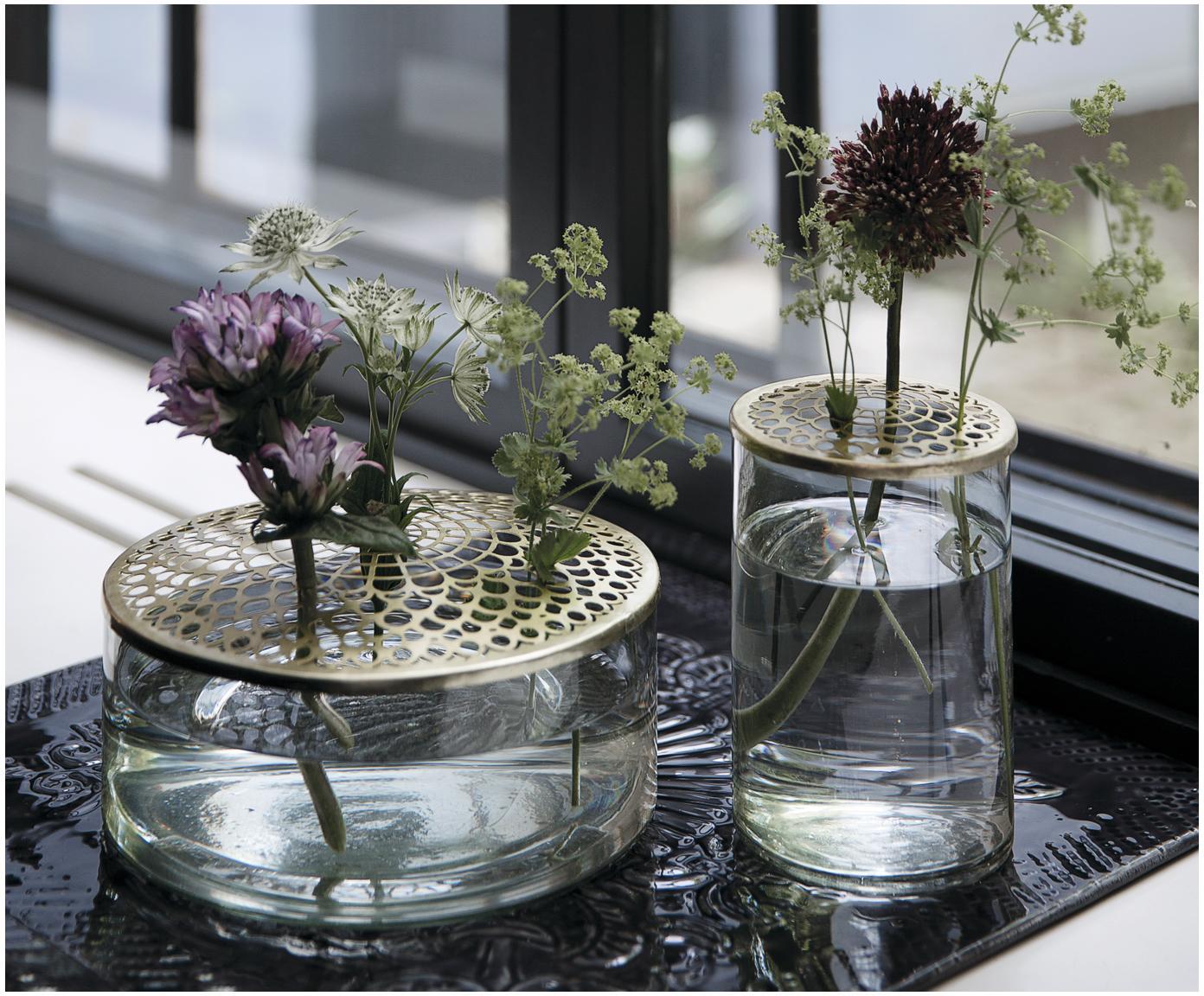 Vaas Kassandra, Vaas: glas, Deksel: vermessingd edelstaal, Vaas: transparant. Deksel: messingkleurig, Ø 21 x H 10 cm