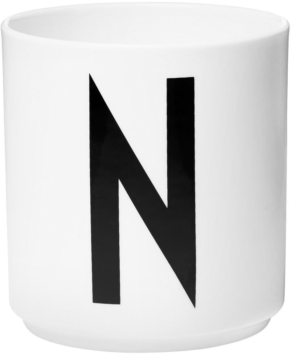 Tazza senza manico di design Personal (varianti dalla A alla Z), Fine Bone China (porcellana), Bianco, nero, Tazza N