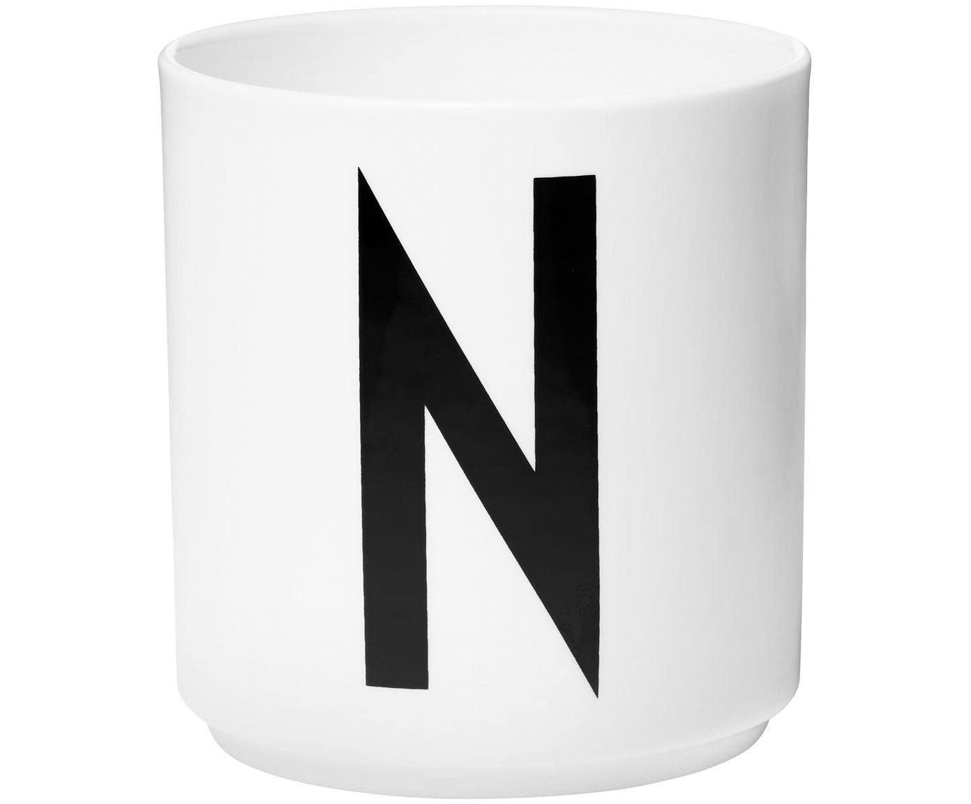 Design Becher Personal mit Buchstaben (Varianten von A bis Z), Fine Bone China (Porzellan), Weiss, Schwarz, Becher N