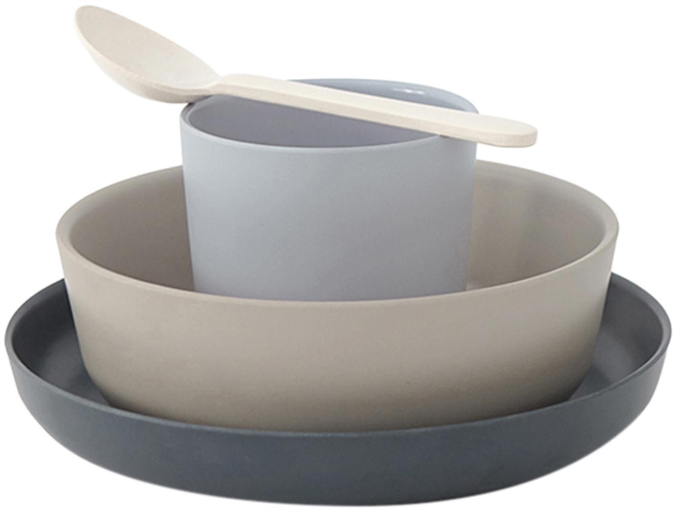Ontbijtset Miku, 4-delig, Bamboehoutvezels, melamine, voedselveilig BPA-, PVC- en ftalatenvrij, Grijs, beige, blauw, crèmewit, Set met verschillende formaten