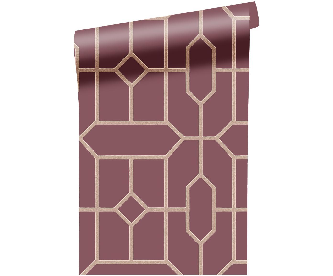 Tapete Geometric, Vlies, glatt, Bordeaux, Beige, 52 x 1000 cm