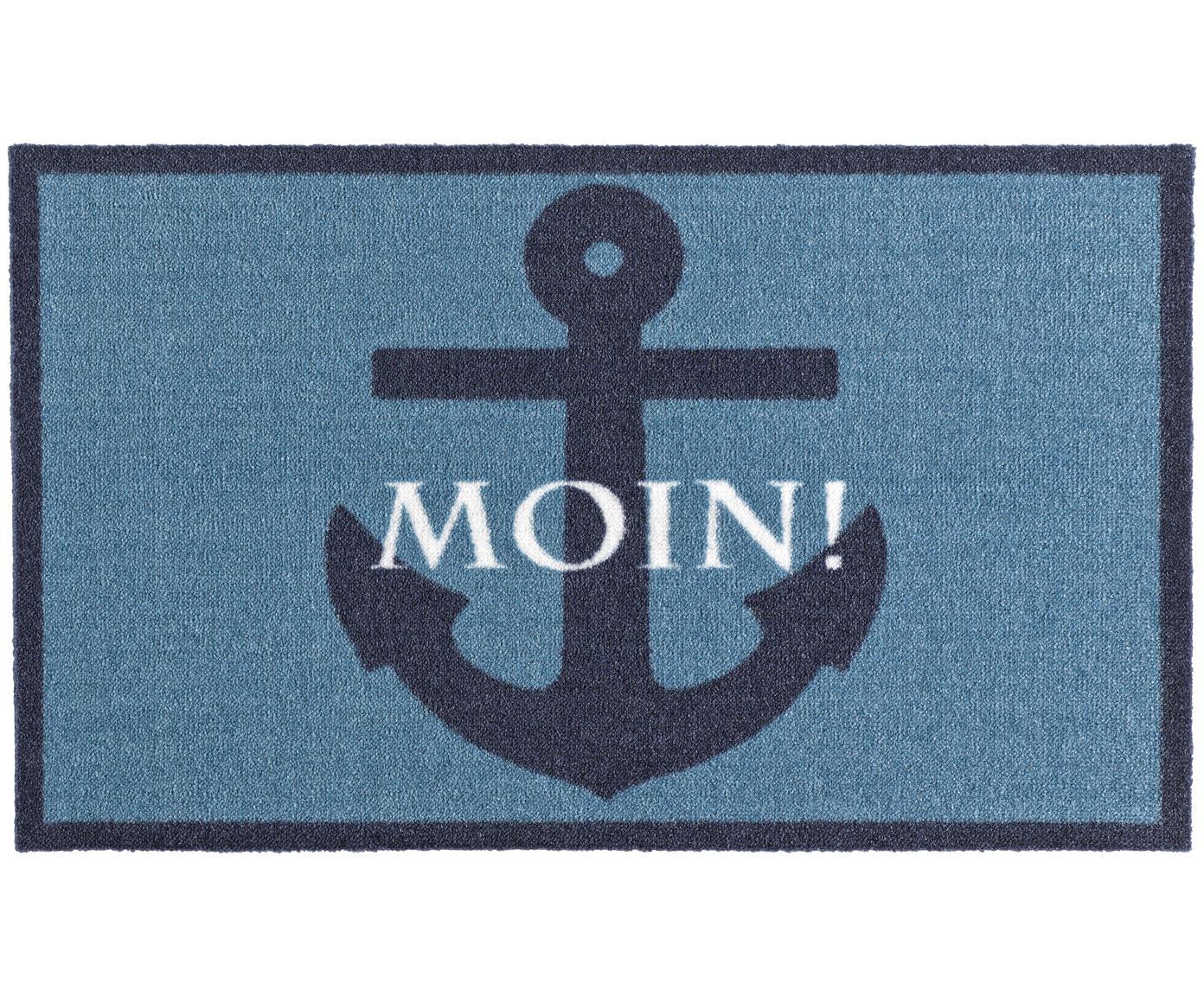 Deurmat Moin, Bovenzijde: polyamide, Onderzijde: PVC, Blauwtinten, wit, 50 x 70 cm