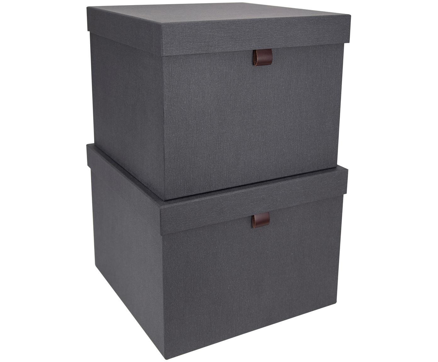 Set scatole custodia Tristan, 2 pz., Scatola: solido, cartone laminato, Antracite, Diverse dimensioni