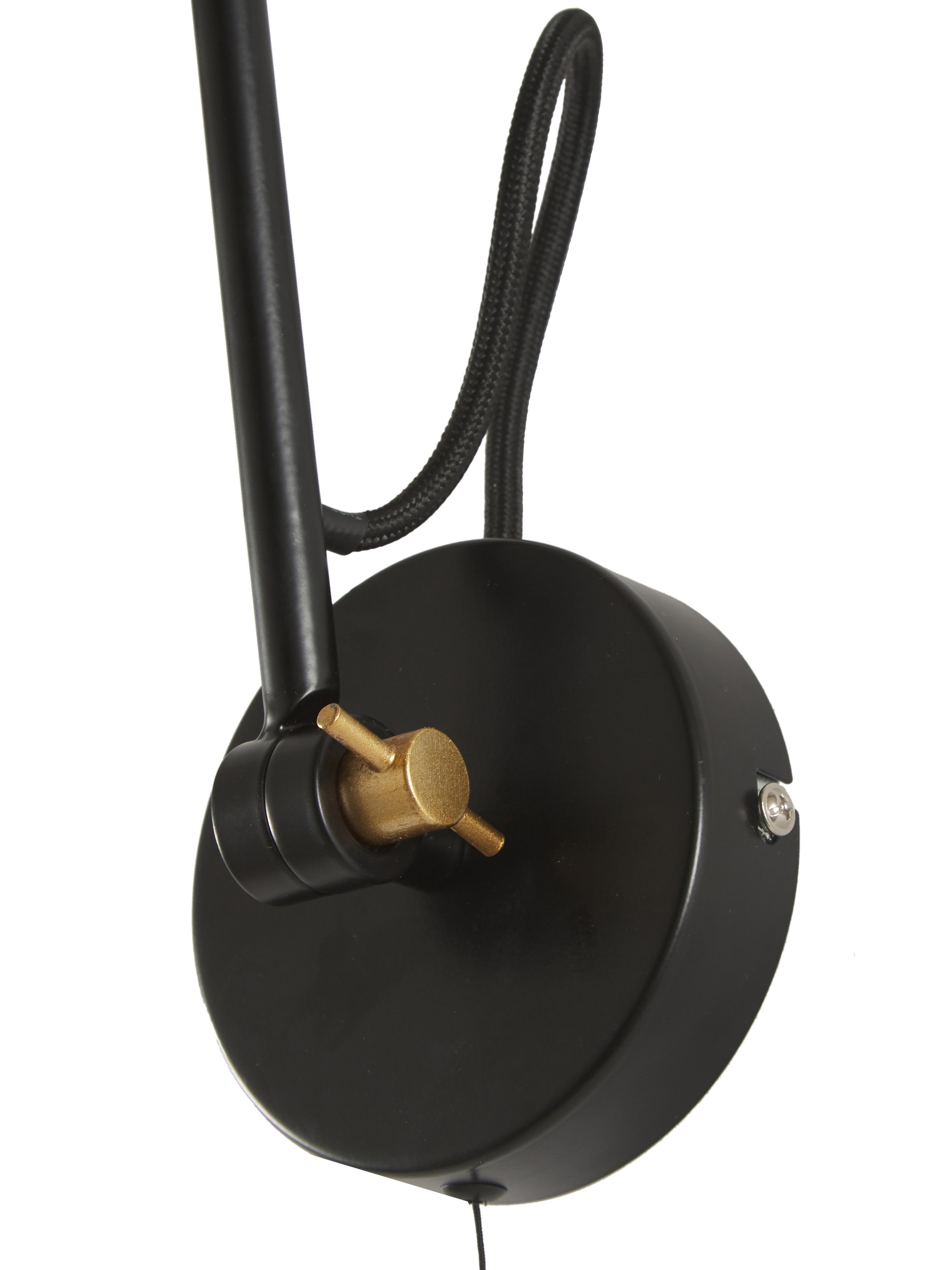 Applique noire style industriel Justa, Noir, couleur dorée