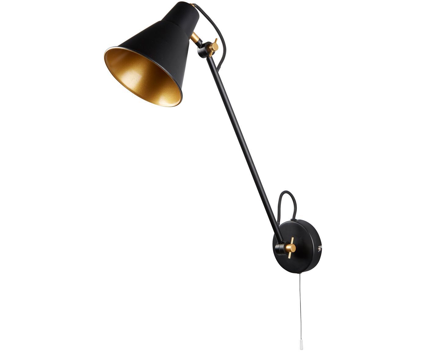Wandlamp  Justa, Gecoat metaal, Zwart, goudkleurig, 14 x 55 cm