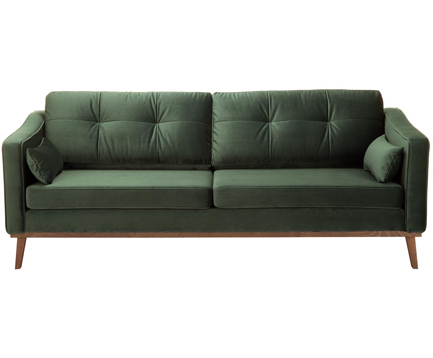 Sofa z aksamitu Alva (3-osobowa), Tapicerka: aksamit (wysokiej jakości, Stelaż: drewno sosnowe, Nogi: lite drewno bukowe, barwi, Oliwkowy, S 215 x G 92 cm