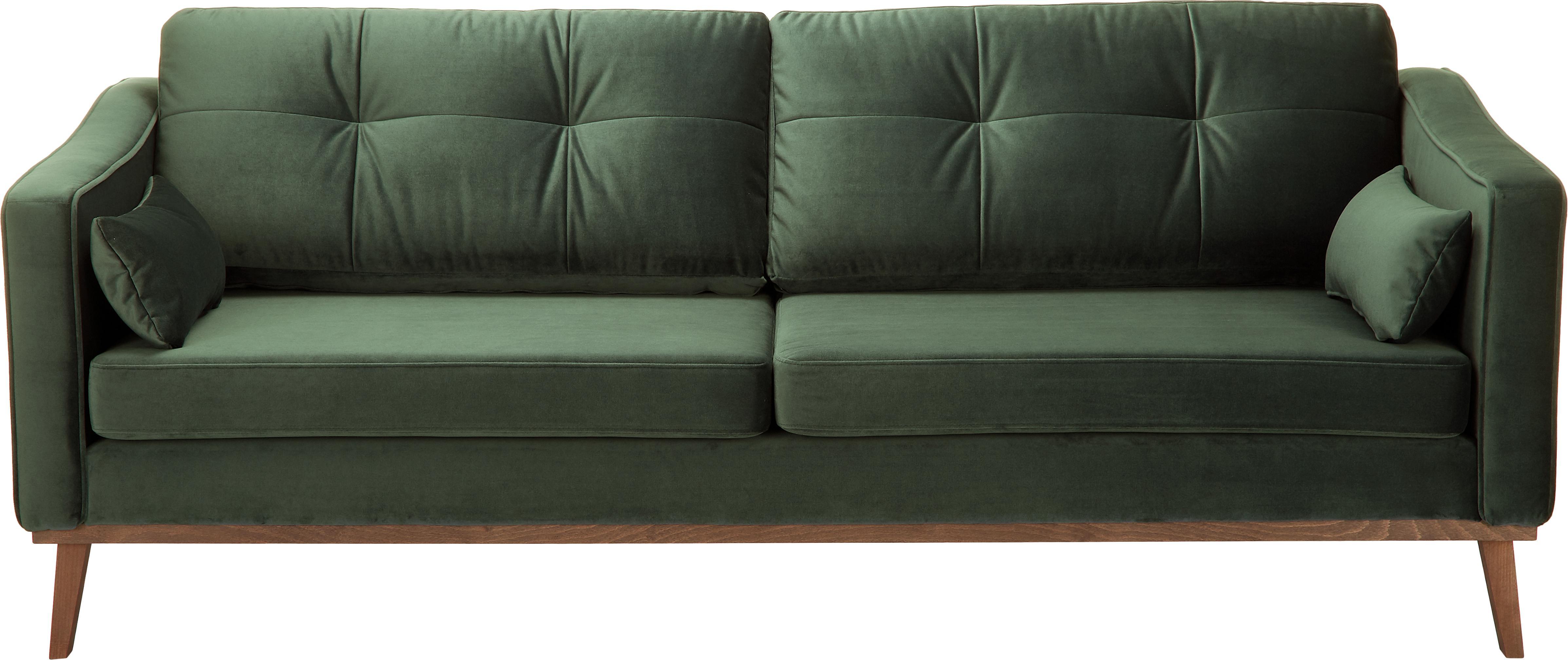 Sofá de terciopelo Alva (3plazas), Tapizado: terciopelo (poliéster de , Estructura: madera de pino maciza, Patas: madera de haya curtida, Terciopelo verde oliva, An 215 x F 92 cm