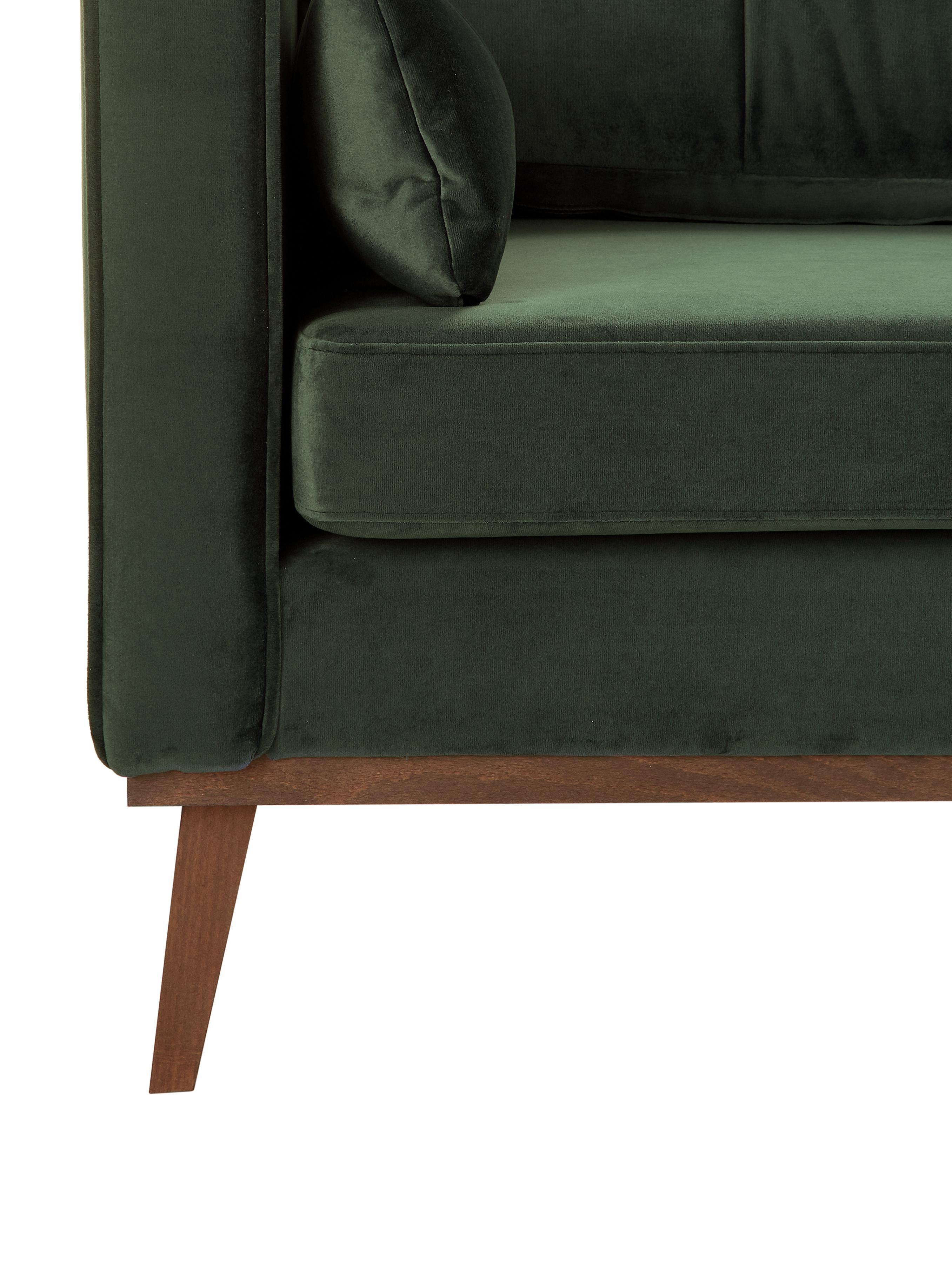 Samt-Sofa Alva (3-Sitzer), Bezug: Samt (Hochwertiger Polyes, Gestell: Massives Kiefernholz, Füße: Massives Buchenholz, gebe, Samt Olive, B 215 x T 92 cm