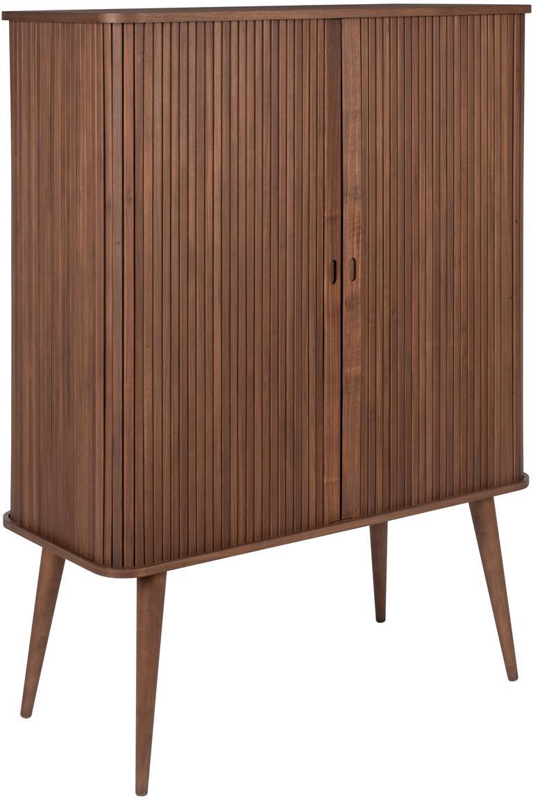 Credenza alta in legno di noce Barbier, Ripiani: vetro temperato, Legno di noce, Larg. 100 x Alt. 140 cm