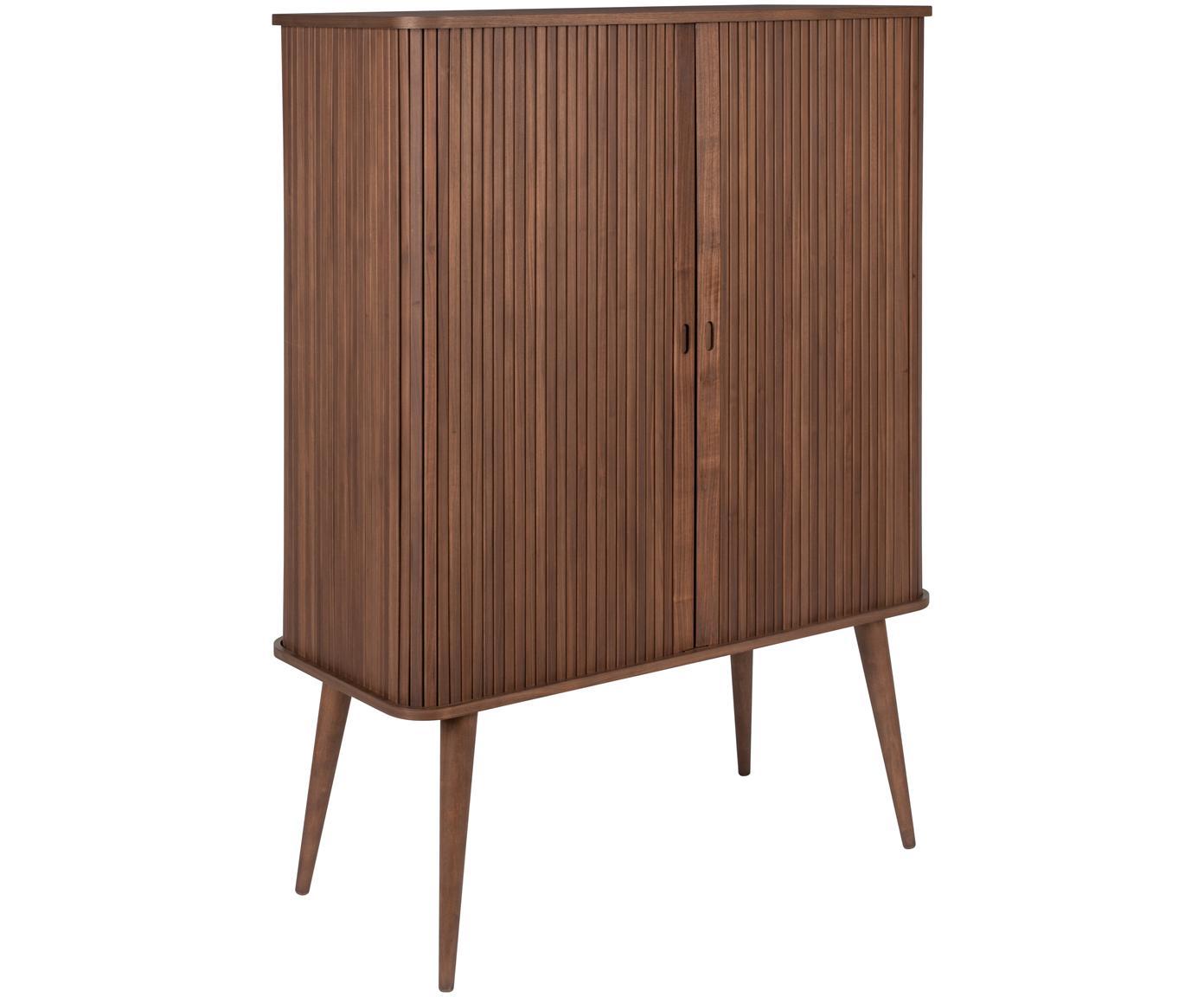 Dressoir Barbier in Retro Design, Frame: MDF, walnoothoutfineer, Plank: hard glas, Walnoothoutkleurig, 100 x 140 cm