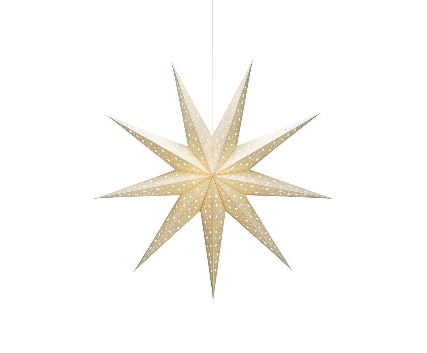Leuchtstern Solvalla, Leuchtstern: GoldfarbenKabel: Weiss, Ø 100 x T 28 cm
