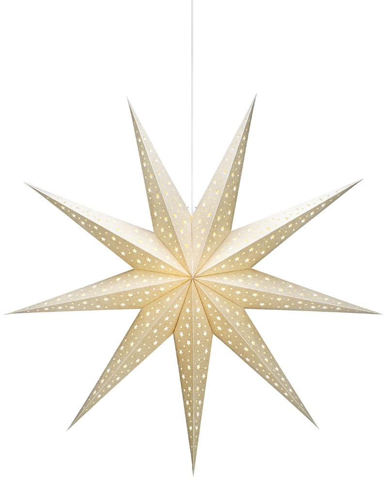 Stella di carta luminosa Solvalla, Stella luminosa: dorato cavo: bianco, Ø 100 x Prof. 28 cm