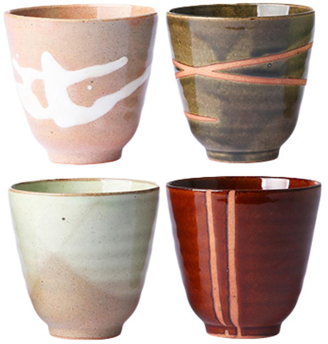 Becher Yunomi im japanischem Style, 4er-Set, Keramik, Mehrfarbig, Ø 9 x H 8 cm