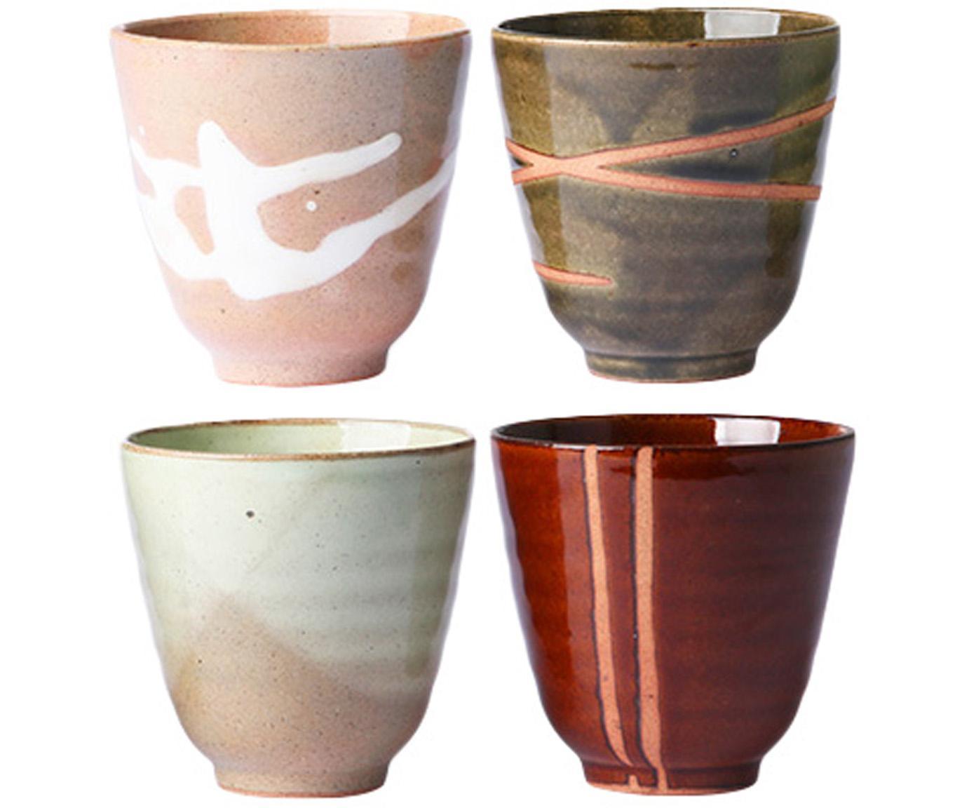 Becher Yunomi im Asia Style, 4er-Set, Keramik, Mehrfarbig, Ø 9 x H 8 cm