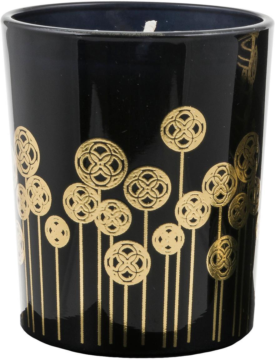 Velas perfumadas Pamakkule (azucena, rosa y azahar), 3uds., Recipiente: vidrio, Negro, dorado, Ø 6 x Al 7 cm