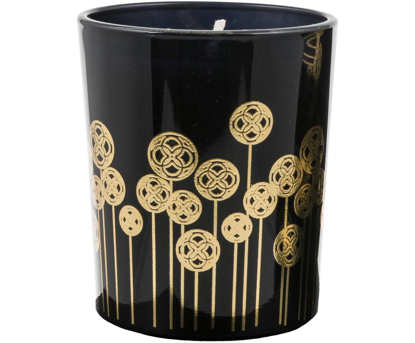 Geurkaarsen Pamakule (lelie, roos en oranjebloesem), 3 stuks, Houder: glas, Zwart, goudkleurig, Ø 6 x H 7 cm