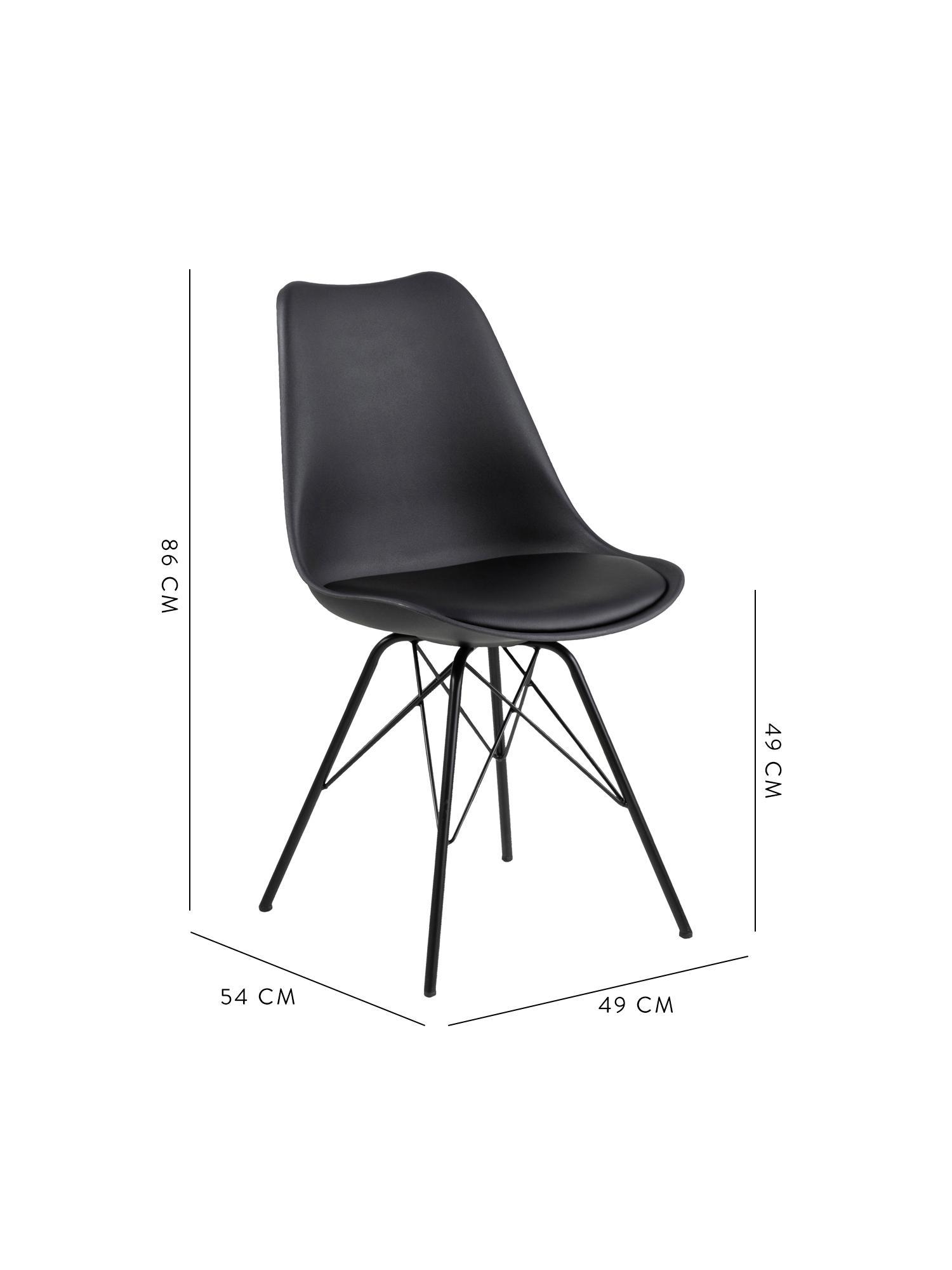 Chaise en plastiqueEris, 2pièces, Noir