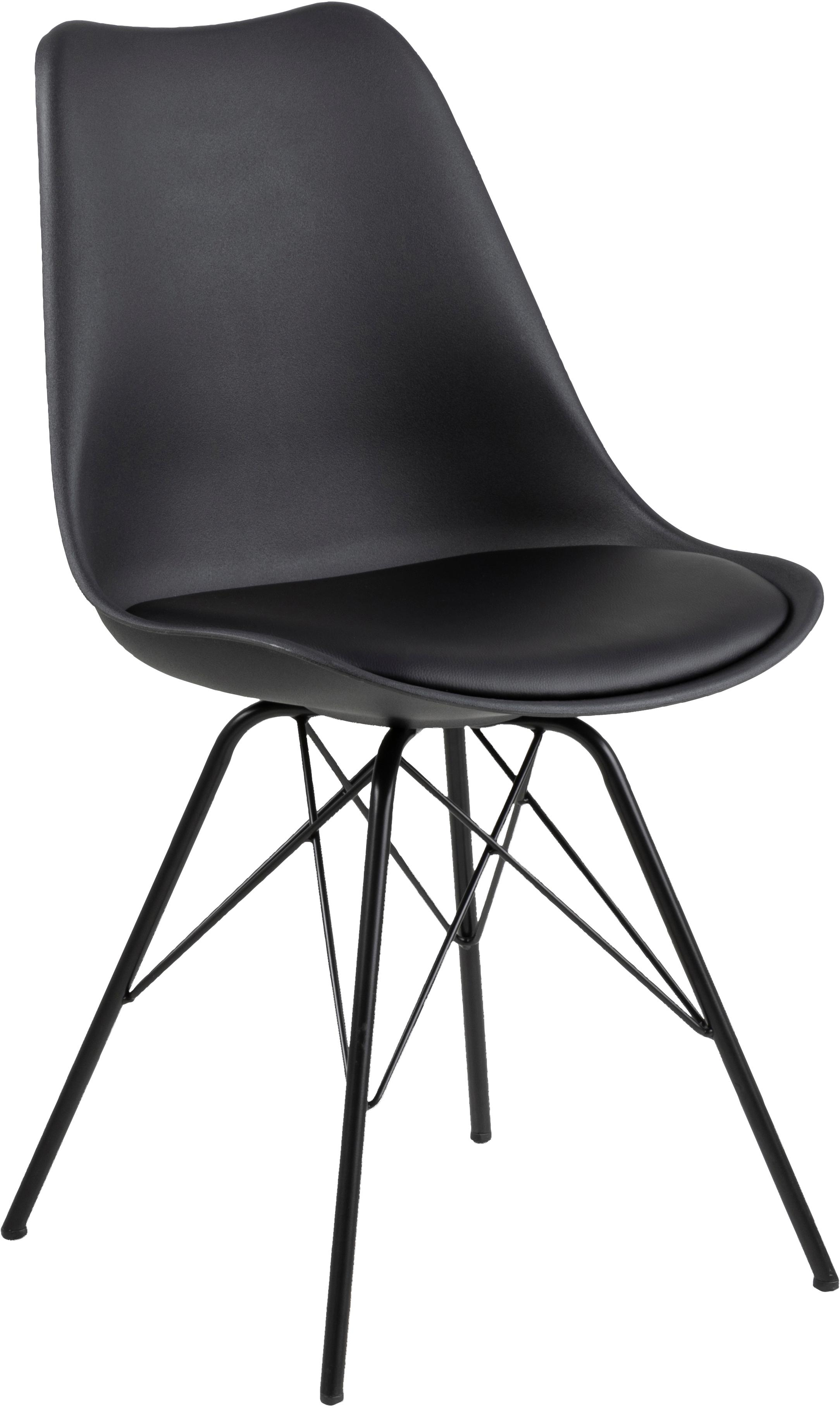 Kunststoffen stoelen Eris, 2 stuks, Zitvlak: kunststof, Bekleding: kunstleer (polyurethaan), Poten: gepoedercoat metaal, Zwart, B 49 x D 54 cm