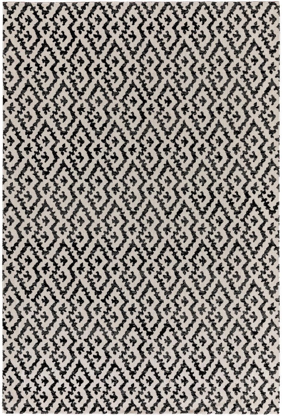 In- & outdoor vloerkleed Jerry in ethno stijl, 100% polypropyleen, Zwart, wit, B 80 x L 150 cm (maat XS)